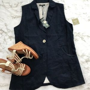 Cynthia Navy Blue Solid Linen Tunic Vest